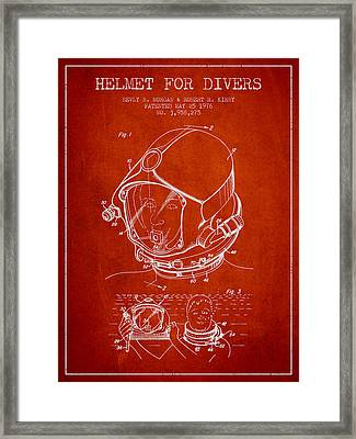 Helmet For Divers Patent From 1976 - Red Framed Print by Aged Pixel