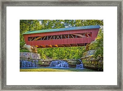 Helmick Mill Or Island Run Covered Bridge  Framed Print by Jack R Perry