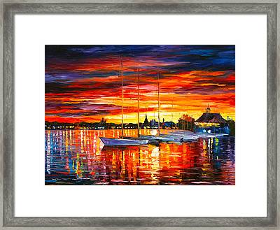 Helsinki Sailboats At Yacht Club Framed Print by Leonid Afremov
