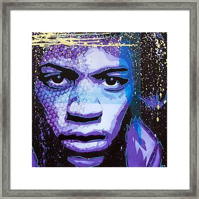 Hendrix - Eyes Of Neptune - Alternate Framed Print by Bobby Zeik