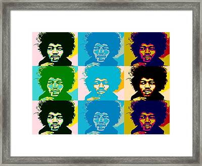Hendrix Pop Art Collage Framed Print by Dan Sproul