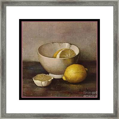 Henk Bos Fruits Still Life Lemons With White Bowl Framed Print by Pierpont Bay Archives