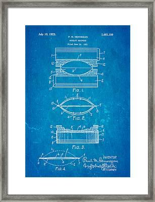 Hennegan Novelty Headwear Patent Art 1923 Blueprint Framed Print by Ian Monk