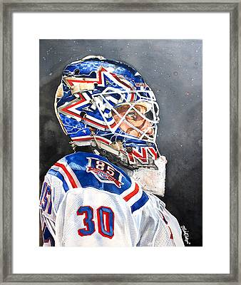Henrik Lundqvist - New York Rangers Framed Print by Michael  Pattison