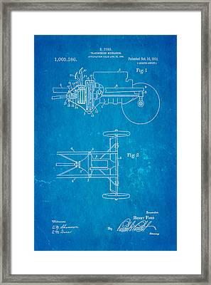 Henry Ford Transmission Mechanism Patent Art 1911 Blueprint Framed Print by Ian Monk