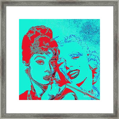 Hepburn And Monroe 20130331v2p128 Square Framed Print by Wingsdomain Art and Photography