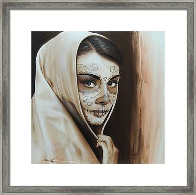 Audrey Hepburn - ' Hepburn De Los Muertos ' Framed Print by Christian Chapman Art