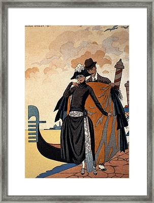 Her And Him Fashion Illustration Framed Print by Georges Barbier