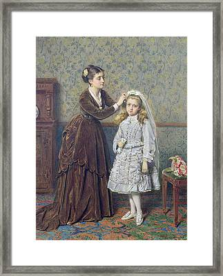 Her First Communion Framed Print by George Goodwin Kilburne