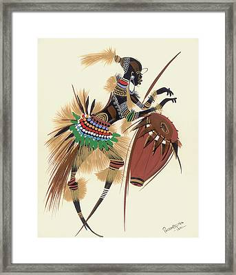Her Rhythm And Blues Framed Print by Oglafa Ebitari Perrin