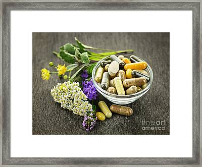Herbal Medicine And Herbs Framed Print by Elena Elisseeva