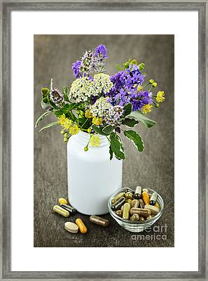 Herbal Medicine And Plants Framed Print by Elena Elisseeva