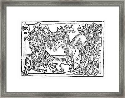 Hercules And Cerberus Framed Print by Granger