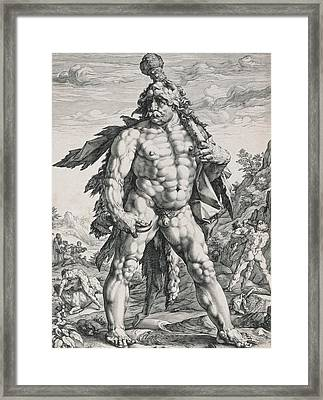 Hercules Framed Print by Hendrik Goltzius