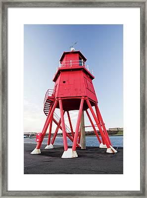 Herd Groyne Lighthouse Framed Print by Ashley Cooper