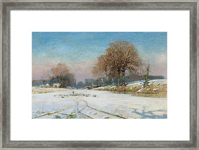 Herding Sheep In Wintertime Framed Print by Frank Hind