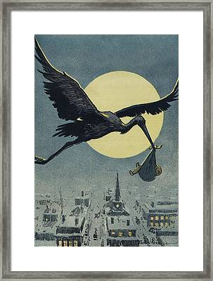 Here Comes The Stork Circa Circa 1913 Framed Print by Aged Pixel