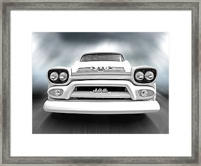 Here Comes The Sun - Gmc 100 Pickup 1958 Black And White Framed Print by Gill Billington