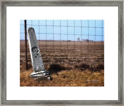 Here Lies George Neve - Walcott Iowa  Framed Print by Mary Machare