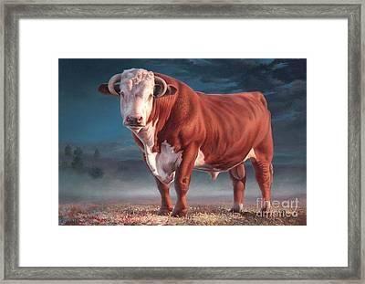 Hereford Bull Framed Print by Hans Droog