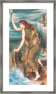 Hero Awaiting The Return Of Leander Framed Print by Evelyn de Morgan