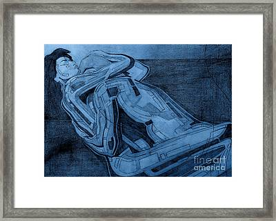Heroes In Blue Drawing  Framed Print by David Hargreaves