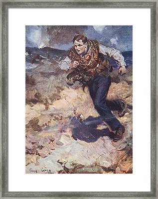 Heroic Middy Carrying Ammunition Framed Print by Cyrus Cuneo
