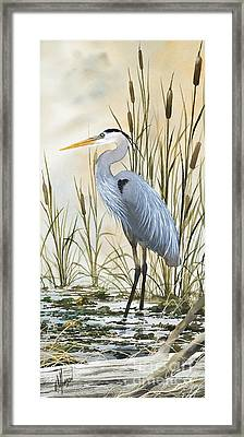 Heron And Cattails Framed Print by James Williamson