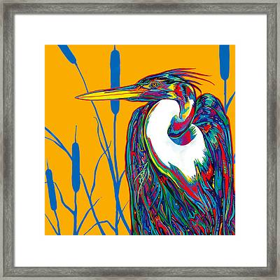 Heron Framed Print by Derrick Higgins