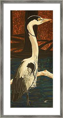 Heron In The Smokies Framed Print by BJ Hilton Hitchcock