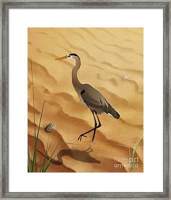 Heron On Golden Sands Framed Print by Bedros Awak