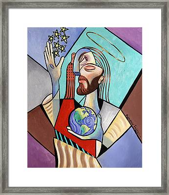 Hes Got The Whole World In His Hand Framed Print by Anthony Falbo