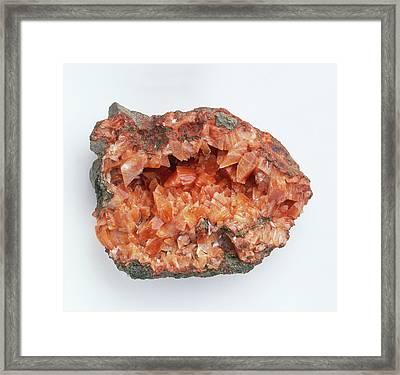 Heulandite In Rock Groundmass Framed Print by Dorling Kindersley/uig