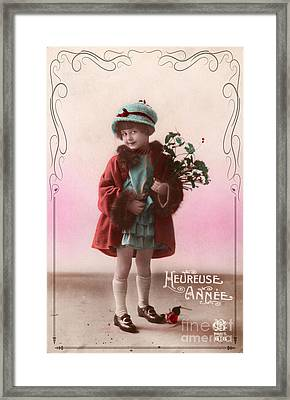 Heureuse Annee Vintage Girl Framed Print by Delphimages Photo Creations