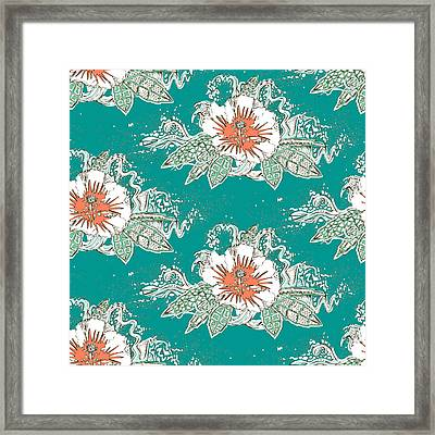 Hibiscus Surf Retro Framed Print by Sharon Turner
