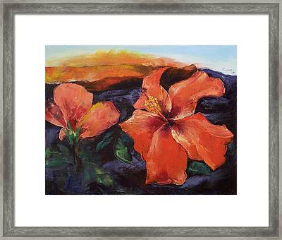 Hibiscus Volcano Framed Print by Michael Creese