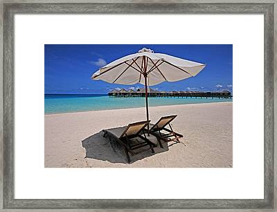 Hideaway Under The Tropical Sun. Maldives Framed Print by Jenny Rainbow
