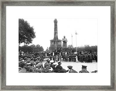 Hidenburg Statue Unveiling Framed Print by Underwood Archives