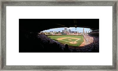 High Angle View Of A Baseball Stadium Framed Print by Panoramic Images