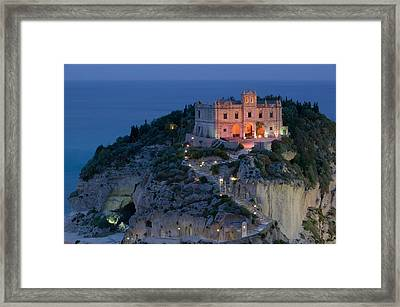 High Angle View Of A Church Lit Framed Print by Panoramic Images