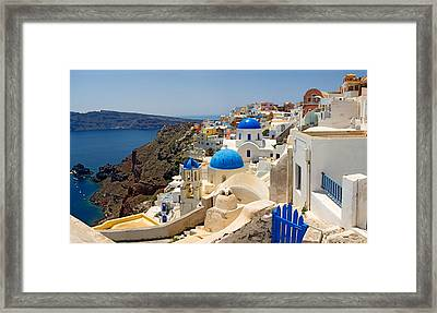 High Angle View Of A Church, Oia Framed Print by Panoramic Images