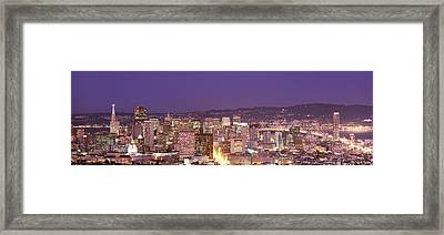 High Angle View Of A City At Dusk, San Framed Print by Panoramic Images