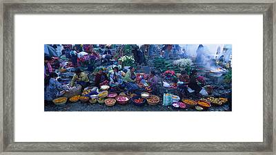 High Angle View Of A Group Of People In Framed Print by Panoramic Images