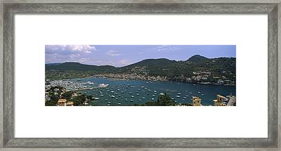High Angle View Of Boats At A Port Framed Print by Panoramic Images