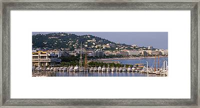 High Angle View Of Boats Docked At Framed Print by Panoramic Images