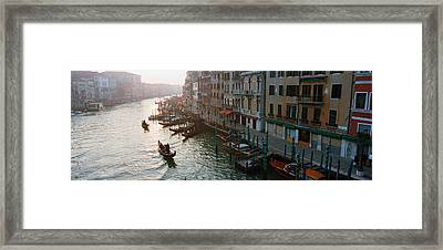 High Angle View Of Gondolas In A Canal Framed Print by Panoramic Images