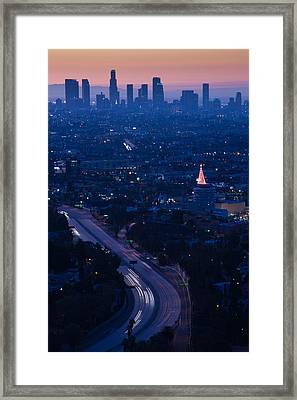 High Angle View Of Highway 101 At Dawn Framed Print by Panoramic Images