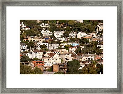 High Angle View Of Houses In A Town Framed Print by Panoramic Images