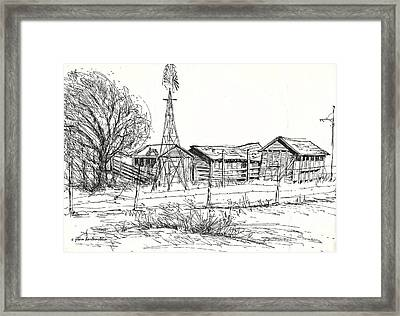 High Plains Barns Framed Print by Joan Hartenstein