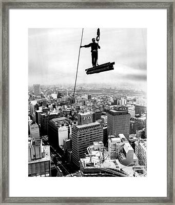 High Rise Construction Vintage Daredevil Framed Print by Retro Images Archive